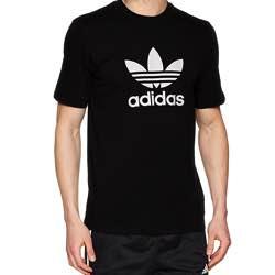 adidas Trefoil T-Shirt - Camiseta de Manga Corta Hombre vintage retro clásica algodón negra logo blanco