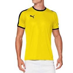 PUMA Liga Jersey - Camiseta Hombre negra logo blanco vintage clásica logo retro amarillo negro