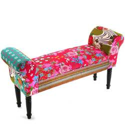 Versa 19500285 Taburete pie de Cama con Apoyabrazos Pink Patchwork, 53x32x100cm, Rosa y Azul vestidor banqueta banco loungue lounge loft tela vintage