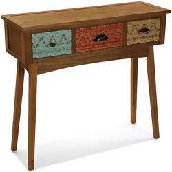 Versa Mimma 21080071 Mesa Consola de Entrada Shikar con 3 cajones, Madera de Pino de Nueva Zelanda, Marrón y Multicolor, 80,5 x 30 x 90 cm