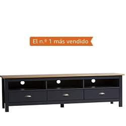 VS Venta-stock Mueble TV Bora Bora 3 Cajones, Madera Maciza, Color Gris Antracita capado vintage retro gris calidad