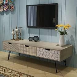 Festnight Mesa de Salón para la Televisión con 3 Cajones 120 x 40 x 36 cm Color Gris