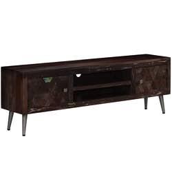 Festnight Mueble de TV Madera Maciza Reciclada con 2 Armarios y 1 Estante, veta aleatoria madera natural vintage retro mueble tv mesa televisor armario television marron