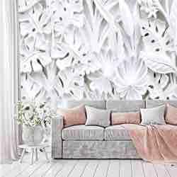 murimage Papel Pintado Flores 3D 366 x 254 cm incluye pegamento Plantas Florales Estuco Blanco Dormitorio Salon Fotomurales Pared efecto 3d flores retro vintage papel de pared
