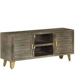 Tidyard Mueble TV Mueble TV Industrial Vintage de Madera Maciza de Mango Gris y Latón 110X30X48 Cm con 2 Estantes y 2 Puertas