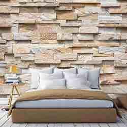 murimage Papel Pintado Piedra 3D 274 x 254 cm Incluye Pegamento Fotomurales Muro Naturaleza Ladrillo beige Pared sala living efecto realista vintage retro