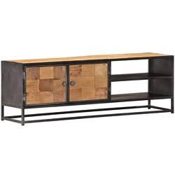 UnfadeMemory Mueble para TV Vintage,Soporte de TV,Mueble Auxiliar,con 2 Puertas y 2 Estantes,Madera Maciza Reciclada,120x30x40cm