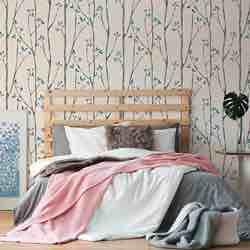 Fine Décor UW24777 Scandi Tree - Pared lateral, color azul lavable vintage retro bonito barato papel pintado dormitorio