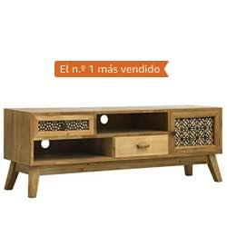 Festnight Mueble para TV Madera Tallada Muebles TV Salon Mueble para Television con 2 Cajones, 2 Compartimentos y 1 Puerta Marrón 120x30x42 cm