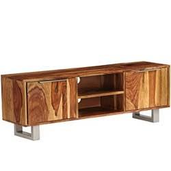 Festnight Mueble TV Madera Maciza Sheesham, con 2 Compartimentos y 2 Armarios, 140x30x40 cm