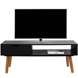 LIFA LIVING Mueble TV Negro, Mesa televisión de diseño Vintage Industrial, Soporte para Tele con estantes y Patas de Madera, 40 x 100 x 40 cm